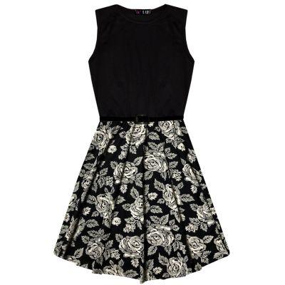 A2Z Trendz Kids Girls Skater Dress Designer's Floral Contrast Panel Summer Party Fashion Dance Dresses With A Free Belt Age 7 8 9 10 11 12 13 Years