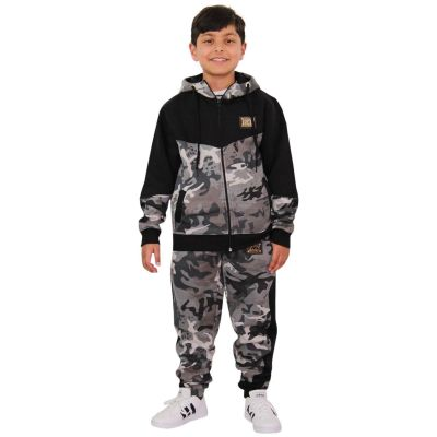 A2Z Trendz Unisex Tracksuit Kids Designer's A2Z Badged Camouflage Contrast Panel Hooded - T.S Camo 602 Charcoal 3-4