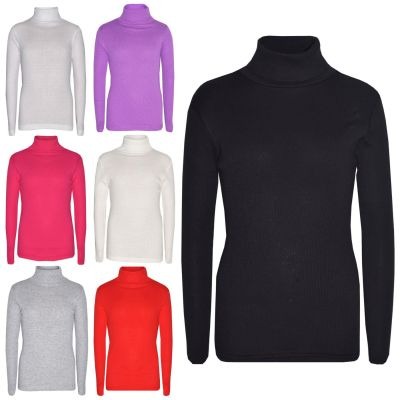 KIDS GIRLS POLO NECK T SHIRT RIBBED COTTON POLO ROLL NECK JUMPER LONG SLEEVE TOP AGE 2-13 YAERS
