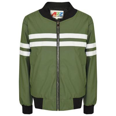 A2Z Trendz Kids Boys PU Leather Jackets Contrast Striped Olive Zip Up Mock Neck Varsity Baseball Fashion School Jacket Bikers Coats New Age 5 6 7 8 9 10 11 12 13 Years