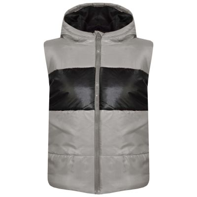 Girls Boys Contrast Panel Sleeveless Hooded Padded Jackets