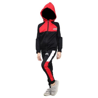 A2Z Trendz Kids Girls Boys Tracksuit Designer's GDR Print Red Contrast Panelled Fleece Hooded Hoodie Top Bottom Running Jogging Workout Gym Suit Joggers Age 7 8 9 10 11 12 13 Years