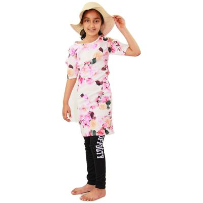 A2Z Trendz Kids Girls Midi Dress Flowers Print Party Fashion Cold Shoulder Party Fashion Dresses Tops Age 7 8 9 10 11 12 13 Years