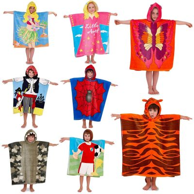 A2Z Trendz Kids Boys Girls Designer's Novelty Character Hooded Towels Swim Beach Bath Tiger Hula Spider Angel Pirate Towel Poncho One Size