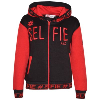 A2Z Trendz Kids Girls Boys Jackets Designer's #Selfie Embroidered Fashion Red Zipped Top Hooded Hoodie Stylish Coat Age 5 6 7 8 9 10 11 12 13 Years