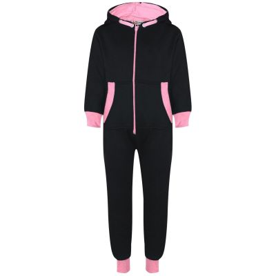 A2Z Trendz Kids Girls Baby Pink Contrast Fleece Onesie All In One Jumsuit Playsuit Nightwear New Age 2 3 4 5 6 7 8 9 10 11 12._13 Years
