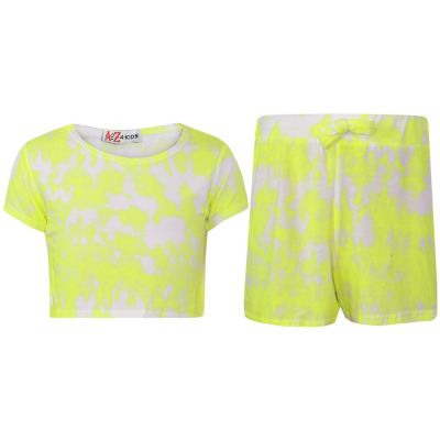 A2Z Trendz Kids Girls Crop Top & Shorts Tie Dye Print Neon Yellow Trendy Fashion Summer Outfit Short Sets New Age 7 8 9 10 11 12 13 Years