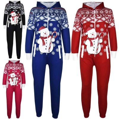 Kids Girls Boys Novelty Christmas Snowman Print Fleece Onesie All In One Jumpsuit Costume Age 5-13 Years