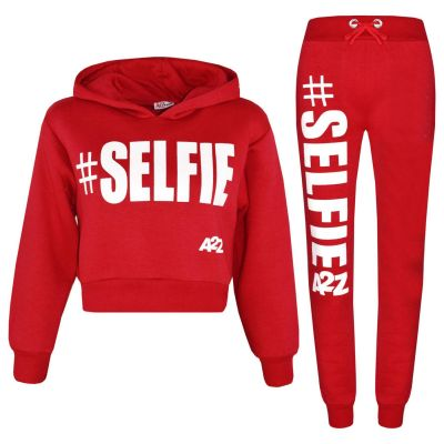 A2Z Trendz Kids Girls Tracksuit Designer's #Selfie Print Fleece Red Hooded Crop Top Bottom Jogging Suit Joggers Age 5 6 7 8 9 10 11 12 13 Years