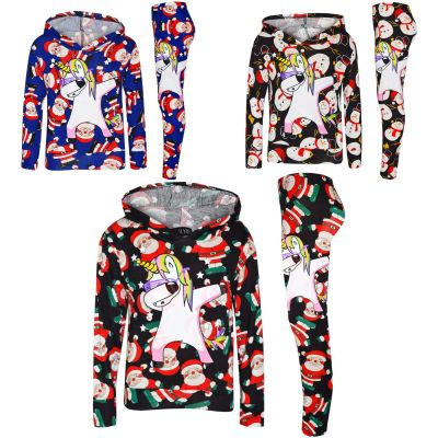 A2Z Trendz Kids Girls Tracksuit Designer's Santa Snowman Unicron Dab Hooded Top & Legging Lounge Wear Outfit Set Xmas Costume New Age 7 8 9 10 11 12 13 Years