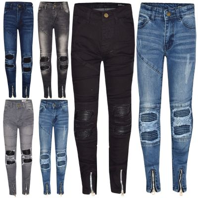 A2Z Trendz Kids Girls Stretchy Jeans Designer's Ripped Knee Drape Panel Denim Pants Fashion Slim Fit Trousers New Age 5 6 7 8 9 10 11 12 13 Years