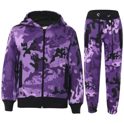 Kids Tracksuit Boys Girls Purple Camouflage Jogging Suit Top Bottom 5-13 Years