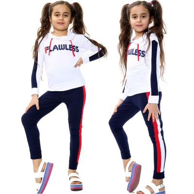 Girls Outfits Flawless Print Hoodie Top Tees & Trendy Contrast Panels Trouser Sets.