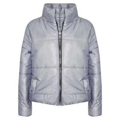 Girls Wet Look Padded Steel Grey Puffer Bubble Jackets