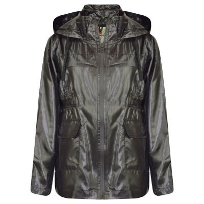 A2Z Trendz Girls Boys Raincoats Jackets Kids Black Light Weight Waterproof Kagool Hooded Jacket Cagoule Rain Mac Thin Coats New Age 5 6 7 8 9 10 11 12 13 Years