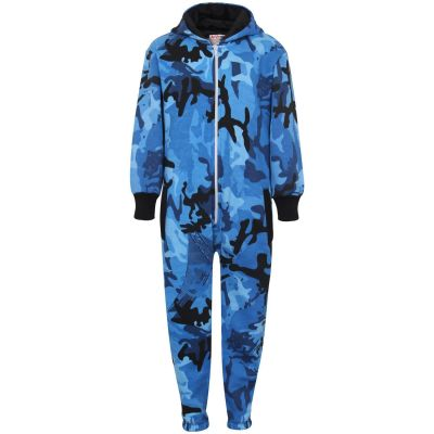 Kids Boys Girls Fleece Onesie Camouflage Blue Print All In One Jumpsuit Playsuit.