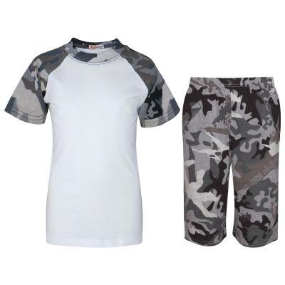 A2Z Trendz Kids Girls Boys Pyjamas Set Plain Camo Charcoal Contrast Color Short Sleeves Top & Knee Length Shorts Sleepwear Summer Outfit Sets Nightwear PJS New Age 2 3 4 5 6 7 8 9 10 11 12 13 Years