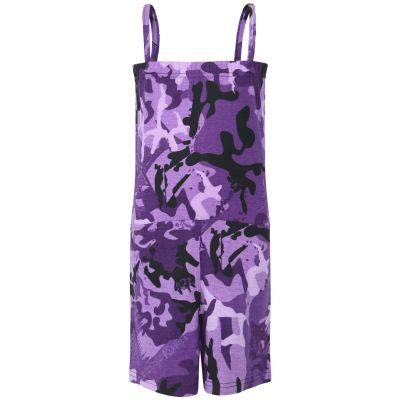 Kids Girls Camouflage Purple Color Playsuit Trendy All In One Jumpsuit 5-13 Years
