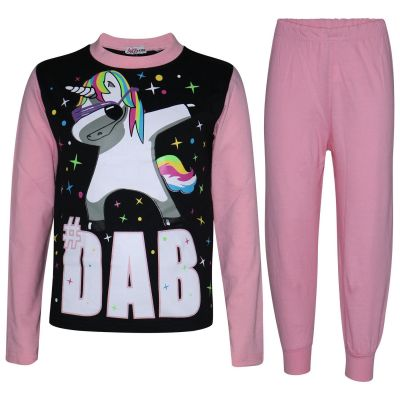 A2Z Trendz Kids Girls Pajamas Designer Dabbing Unicorn #Dab Print Baby Pink Contrast Sleeves Pyjamas Trendy Floss Fashion Loungewear Nightwear Pjs Outfit Set Age 5 6 7 8 9 10 11 12 13 Years