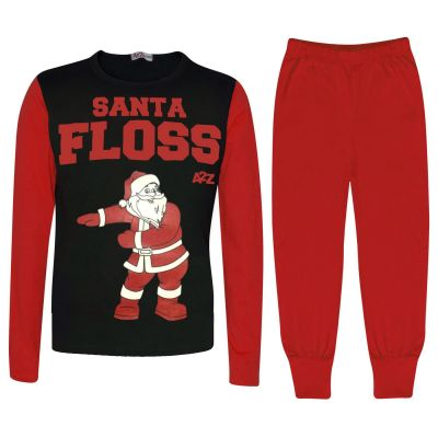 Kids Girls Boys Pyjamas Trendy Santa Floss Red Xmas Gift Loungewear Pjs Outfits
