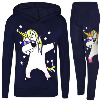 A2Z Trendz Kids Girls Tracksuit Designer's Rainbow Unicron Dab Floss Print Navy Hooded Crop Top & Legging Lounge Wear Set New Age 7 8 9 10 11 12 13 Years