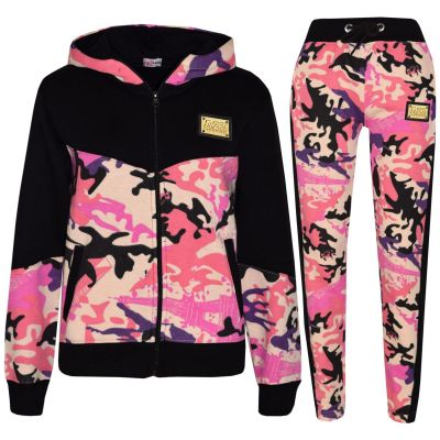 A2Z Trendz Kids Girls Tracksuit Designer's A2Z Badged Camouflage Baby Pink Contrast Panel Hooded Top Botom Jogging Suit Age 5 6 7 8 9 10 11 12 13 Years