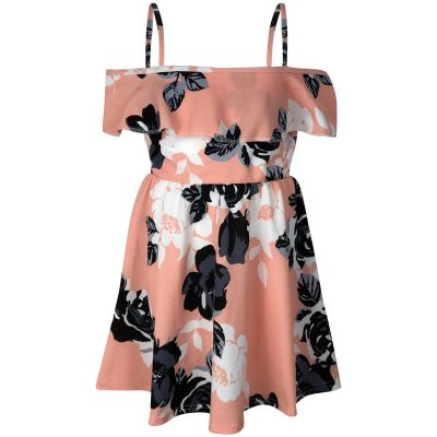 A2Z Trendz Girls Skater Dress Designer's Kids Floral Print Summer Party Fashion Off Shoulder Dresses Age 7 8 9 10 11 12 13 Years