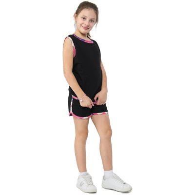 A2Z Trendz Kids Girls Vest Top And Shorts 100% Cotton Camouflage Baby Pink Taped Fashion Summer Vests Hot Pant Short Outfit Set New Age 5 6 7 8 9 10 11 12 13 Years