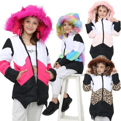 Girls Puffer Jacket Faux Fur Hooded Contrast Panelled Coats