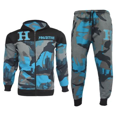A2Z Trendz Boys Tracksuits Kids HNL Blue Camouflage Hoodie Top & Bottom Pullover Jogging Suits Gym Wear Outfit Joggers New Age 7 8 9 10 11 12 13 Years
