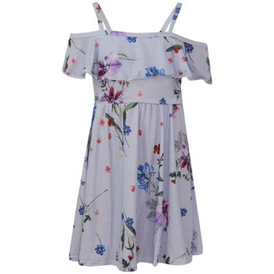 A2Z Trendz Girls Skater Dress Floral White Print Summer Party Fashion Off Shoulder Dresses New Age 7 8 9 10 11 12 13 Years