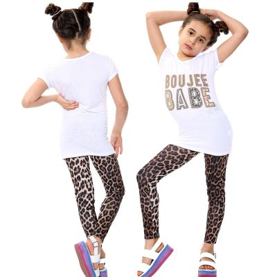 Girls Outfits Boujee Babe Print White Top Tees & Leopard Legging Sets.