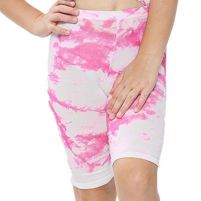 A2Z Trendz Kids Girls Cycling Shorts Tie Dye Print Pink Gym Dance Running Trendy Fashion Summer Short Knee Length Half Pant New Age 5 6 7 8 9 10 11 12 13 Years