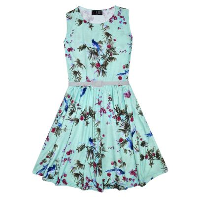 A2Z Trendz Girls Skater Dress Kids Floral Mint Abstract Belted Summer Party Dance Dresses Age 7 8 9 10 11 12 13 Years