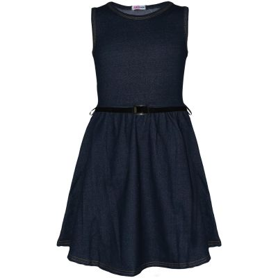 A2Z Trendz Kids Girls Skater Dress Designer's Denim Look Blue Summer Party Fashion Top Dance Stretchy Dresses With A Free Belt Age 5 6 7 8 9 10 11 12 13 Years