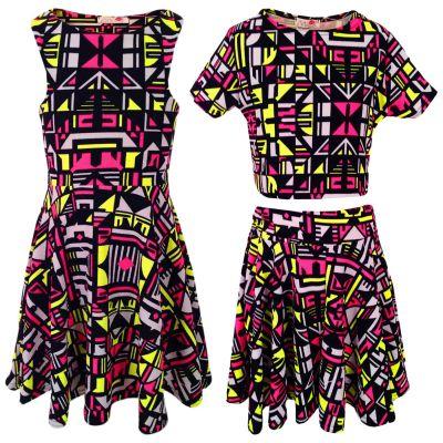 Kids Girls Neon Pink & Yellow Aztec Tribal Print Skater Skirt Midi Dress Crop Top Legging New Age 7-13 Years