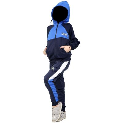 A2Z Trendz Kids Girls Boys Tracksuit Designer's GDR Print Royal Contrast Panelled Fleece Hooded Hoodie Top Bottom Running Jogging Workout Gym Suit Joggers Age 7 8 9 10 11 12 13 Years