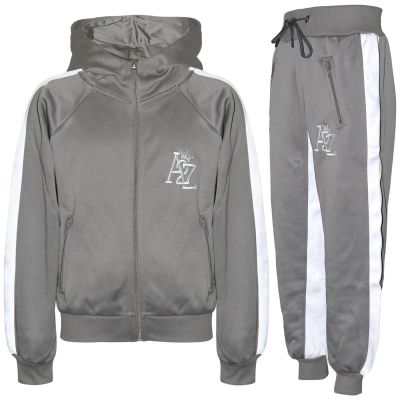 A2Z Trendz Kids Girls Boys Tracksuit Designer's A2Z Embroidered Contrast Panelled Steel Grey Fleece Hooded Hoodie Top Bottom Workout Running Jogging Suit Gymwear Joggers Age 5 6 7 8 9 10 11 12 13 Years