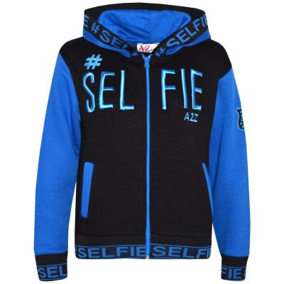 A2Z Trendz Kids Girls Boys Jackets Designer's #Selfie Embroidered Fashion Blue Zipped Top Hooded Hoodie Stylish Coat Age 5 6 7 8 9 10 11 12 13 Years