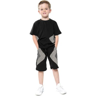 A2Z Trendz Kids Girls Boys Shorts Set 100% Cotton Contrast Panelled Black & Charcoal Trendy Fashion Summer T Shirt Top & Short Pants Gymwear Outfit Clothing Sets Age 5 6 7 8 9 10 11 12 13 Years