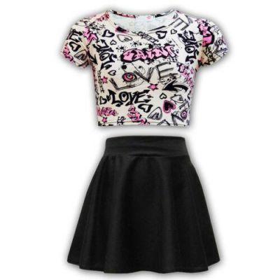 Kids Girls Love Graffiti Scribble Print Crop Top & Black Skater Skirt Set  Age 7 8 9 10 11 12 13 Years