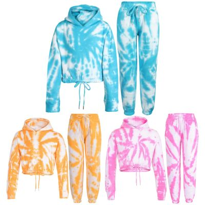 Girls Tie Dye Print Cropped Hooded Tracksuit