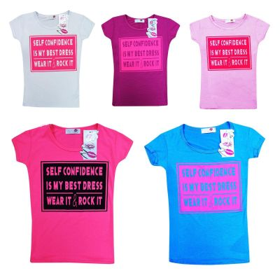 "New Kids Girls "" SELF CONFIDENCE "" Slogan Printed Top Stylish Fashion T Shirt 7 8 9 10 11 12 13 Years"