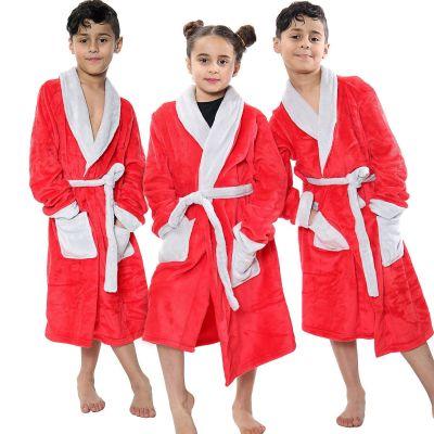 Kids Girls Boys Bathrobes Plain Red Soft Dressing Gown Loungewear.