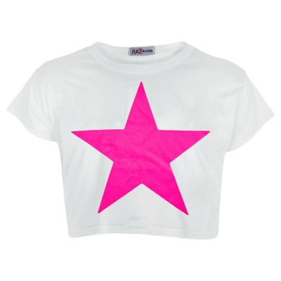 A2Z Trendz Kids Girls Crop Top Designer Star Print White Stylish Trendy Fashion T Shirt Tops New Age 5 6 7 8 9 10 11 12 13 Years