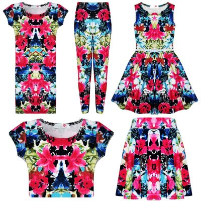 Kids Girls Pink & Blue Floral Print Legging Midi Dress Skater Dress Crop Top Skater Skirt Age 7-13 Years