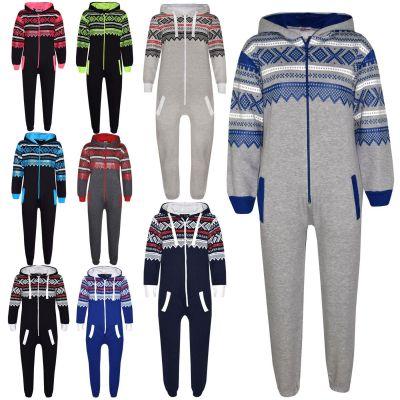 A2Z Trendz Kids Fleece Onesie Girls Boys Aztec Snowflake Print All In One Jumsuit Playsuit Nightwear New Age 7-13 Years