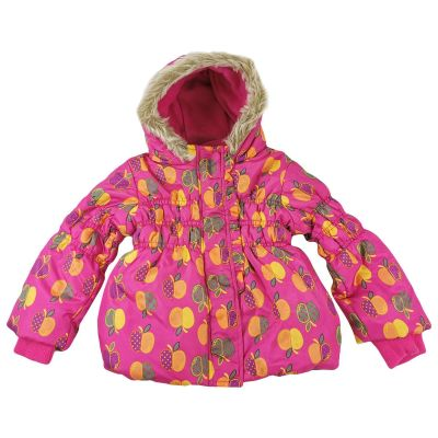 Kids Girls Ruched Puffer Jackets Fruits Print Faux Fur Hooded Warm Thick Coats