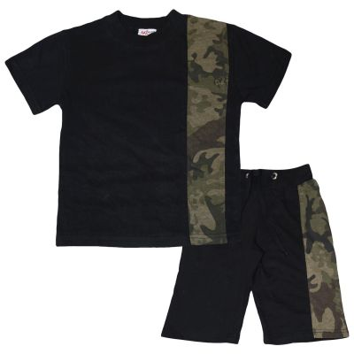 A2Z Trendz Kids Boys T Shirt Shorts 100% Cotton Camo Green Contrast Panelled Trendy Fashion Summer Top Short Set New Age 5 6 7 8 9 10 11 12 13 Years