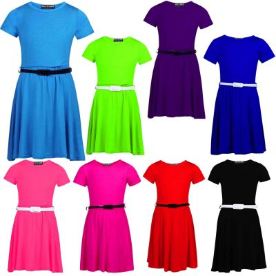 Girls Skater Dress Kids Party Dresses With Free Belt Short Sleeves New Age 7-13 Years